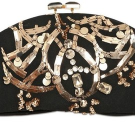 MARNI - Black Embroidered Double Face Wool Clutch