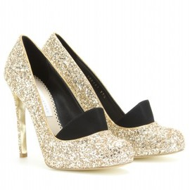 Stella McCartney - SHINY STARLETS GLITTER PUMPS WITH SUEDE TONGUE