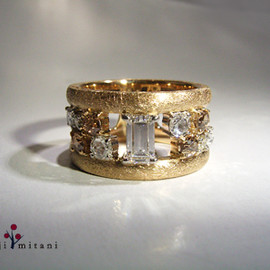 pt/k18 rosecut diamond ring