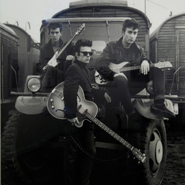 """Astrid Kirchherr - George, John and the """"Fifth Beatle"""" Stuart in the middle"""
