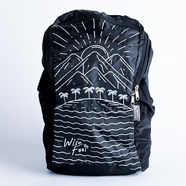wisefool - black recycled polyester rpet island palm tree packable backpack
