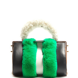 MARNI - Duffle Tag fur-trimmed leather bag