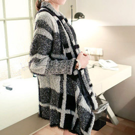 New Fall Black White Celebrities Women Knitted Wide Lapel Cardigan Coat