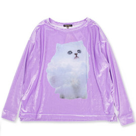 "WILDFOX - シャイニープリントトップス""CLOUD KITTEN SWEATER TOP""/PURPLE"
