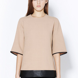 3.1 Phillip Lim - BOXY TEE WITH LEATHER TRIM