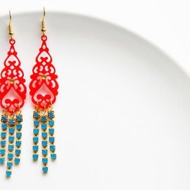 Ostara - Exotic Red Filigree, Blue Swarovski Chain Earrings