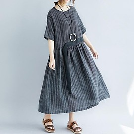 maxi linen dress - Women's maxi linen dress, Black linen dress, short sleeved dress, round collar loose dress