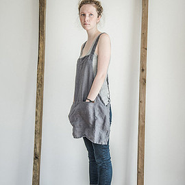 not PERFECT LINEN - SHORT SQUARE CROSS LINEN APRON
