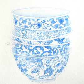 "Luulla - blue bowls watercolor print of watercolor painting 8"" x 10"""