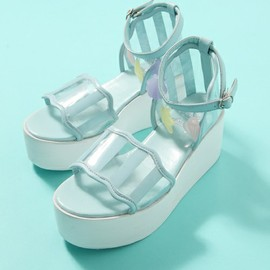 Candy stripper - SEASHELL WEDGE SOLE SANDAL(サンダル)