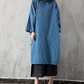 gown for women - Denim dress, light blue Cowboy Loose dress, dark blue long sleeved dress