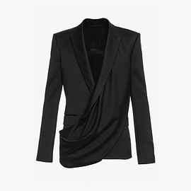 BALMAIN - Black satin draped-front blazer Jacket