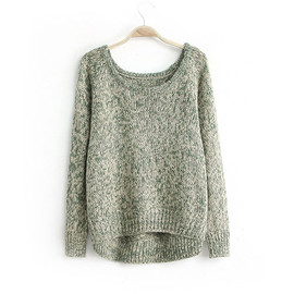 fashion - [grxjy560510]European Style Simple Pure Color High-low Hemline Knit Sweater