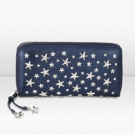 JIMMY CHOO - FILIPA Navy Pearlised Deerskin Wallet with Crystal Stars