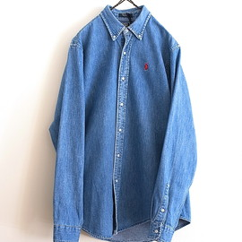 LILY1ST VINTAGE - 1980-1990'S BUTTONDOWN DENIM SHIRT BY RALPH LAUREN BOYS SIZE