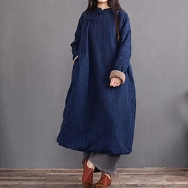 women coat robe - Women Stand collar Winter dress, loose Plus velvet overcoat