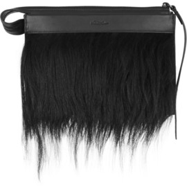 3.1 Phillip Lim - Depeche small goat hair-trimmed leather clutch
