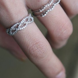 CZ Three Strand Infinity Ring White Gold