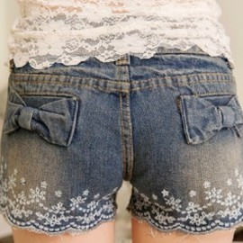 bowknot lace embroidery denim shorts hot pants