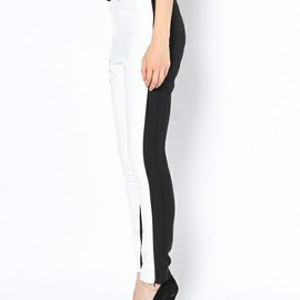 TOPSHOP - COLOUR BLOCK SKINNY TROUSERS