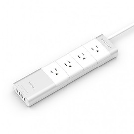 Satechi - Satechi Aluminum Power Strip with 4 USB Charging Ports