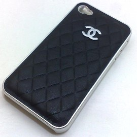 Limited Edition Chanel Iphone 4 4s Luxury Embossed Faux Leather Case with Metallic Paint Sides (Black/Silver)