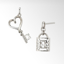 STAR JEWERY - key to heart pierced earrings