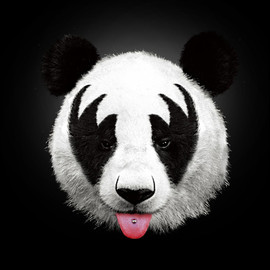 Robert Farkas - Kiss of a panda Art Print