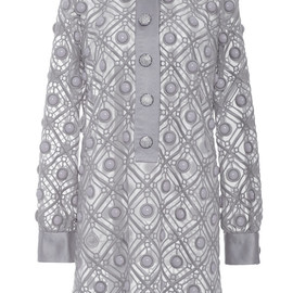 MARC JACOBS - SS2015 Putty Diagonal Embroidery Shirt Dress