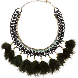 ISABEL MARANT - Gold-tone, crystal and feather necklace