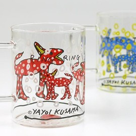 Yayoi Kusama, 草間弥生 - Red Toko-Ton Glass Mug