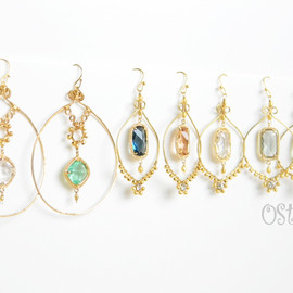Ostara - Hammered Gold Earrings with 16k Gold Plated Cutting Glass