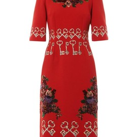 DOLCE&GABBANA - FW2014 Flocked and embroidered crepe dress
