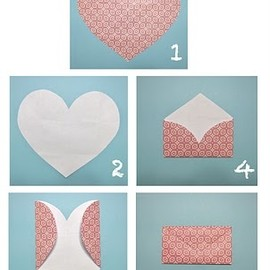 Make an envelope of a heart-shaped piece of paper #crafts #handmade #envelopes #cardmaking