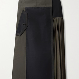 sacai - Paneled pleated grosgrain-trimmed cotton-blend twill and wool midi skirt