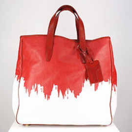 Yves Saint Laurent - Red and White Painted Canvas Tote Bag