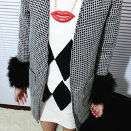 Elegant Warm Fur Plaid Trench Coat