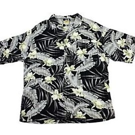 VINTAGE - Vintage 1990s 90s Black/Gray/Yellow Rayon Retro Hawaiian Shirt Mens Size L Large