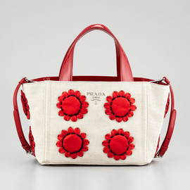 PRADA - Mistolino Flower Applique Basket Tote Bag
