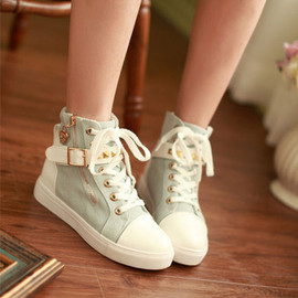 fashion - Stud buckle zip lace up canvas sneaker platform shoes