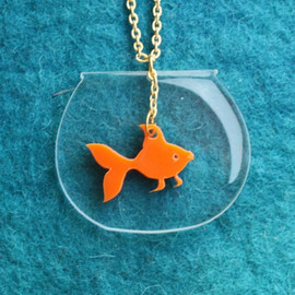 bugga - Goldfish Necklace,PlexiglassJewelry,Lasercut Acrylic,Gifts Under 25