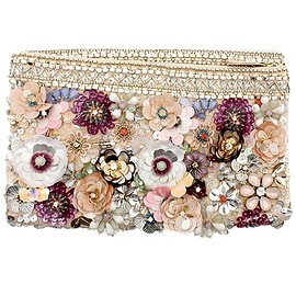 Flower Applique Clutch Bag