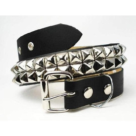 Wendy's - 2 ROW LARGE PYRAMID BELT/Black×Silver Studs