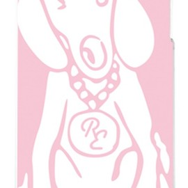 SECOND SKIN - Dog ピンク×ホワイト design by ROTM (クリア) / for iPhone 4S/au