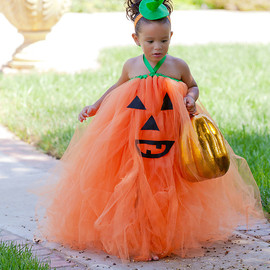 corrinacreations - Halloween, Boutique Style Pumpkin Face OTT Tutu Dress