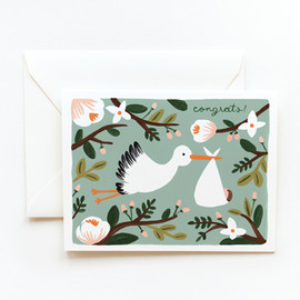 Rifle Paper co. - Congrats Stork Card