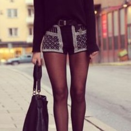 sheer tights & shorts slouchy sweater