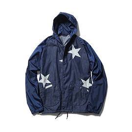 SOPHNET. - BIG STAR DENIM FABRIC MIX HOODED COACH SHIRT