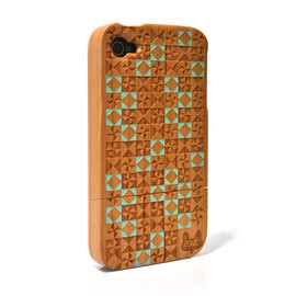 A Skulk Of Foxes - Hardwood iPhone 4 & 4S cover - Quilt Green