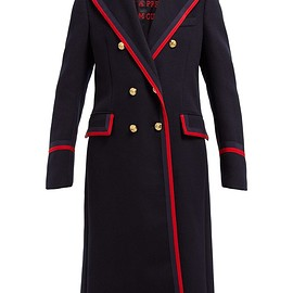 GUCCI - Grosgrain-trim double-breasted wool-blend coat